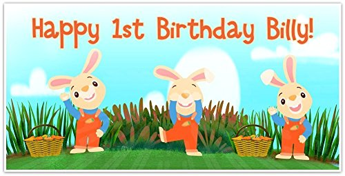 Baby First TV Harry the Bunny Birthday Banner Personalized Party Backdrop Decoration