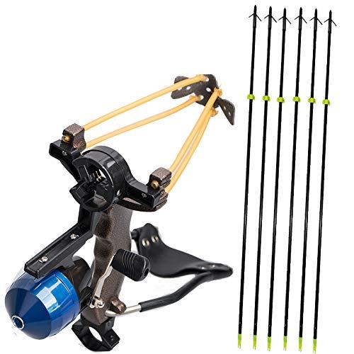 TOPARCHERY High Velocity Hunting Archery Bow Fishing Reel Slingshot Slingbow Catapult Solid Fiberglass Arrows Wrist Arrows Rest (1x Slingshot + 6X Black Arrows) ()