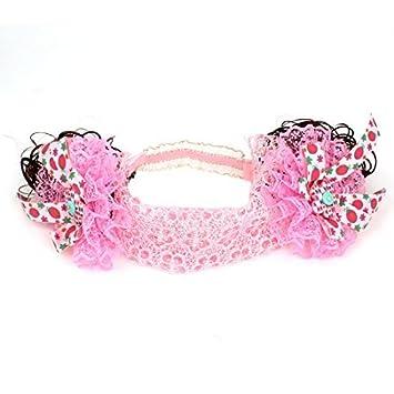 Doble Flores peluca ornamento elástico Band Cinta de cabeza Para Niños rosa Niño