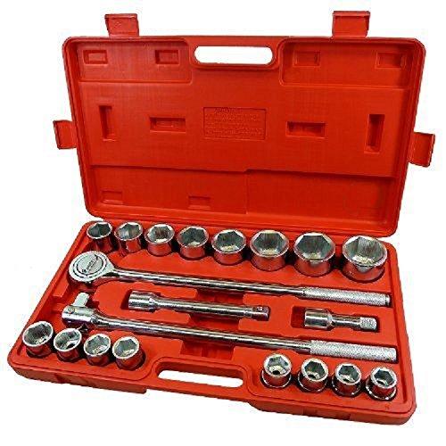 21pc SAE 3/4'' Drive Socket Set w Storage Case Jumbo Ratchet Wrench Extension NEW