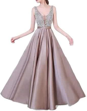 CuteRose Womens V-Neck Evening Gown Swing Sequin Prom Mermaid Long Maxi Dress