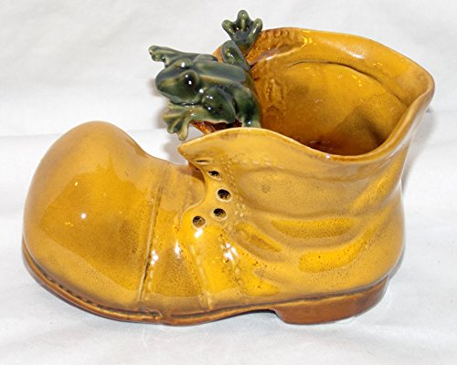 Yellow Unlaced Shoe Boot with Tree Frog on Top Pen Pot Plant Pot Bamboo Holder Multi Use ()