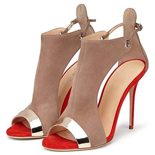 Emiki Heel Toe Women Buckle Heel Cover Stilettos Braun Pumps High Customized Peep Sandals Nubuck Leather piece With Two zzrPdw