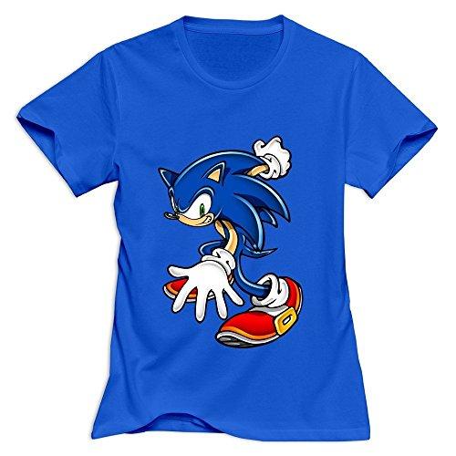 Yisw Women Sonic Hedgehog T-Shirt XL RoyalBlue O Neck Design Clothing (Female Sonic The Hedgehog)