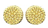 14K Gold Over Sterling Silver Yellow Natural Diamond Hip Hop Stud Earrings (0.40 Cttw)