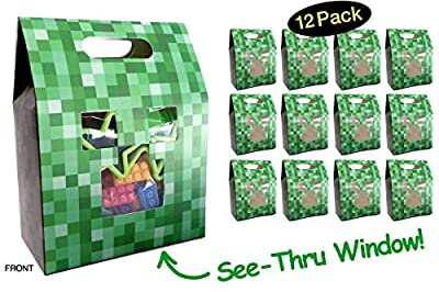 Pixel Party Favor Bags Boxes // Unique Gamer See-Thru Window // Show Off Your Minecraft Party Favors Candy or Treats // Thank You Goodie Bags // Kids Children Birthday Minecraft Loot Bags // 12 Pack