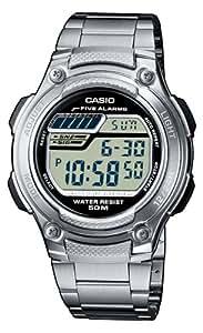 Casio CASIO Collection - Reloj digital de caballero de cuarzo con correa de acero inoxidable plateada (cronómetro, alarma, luz) - sumergible a 50 metros