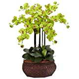 Nearly Natural 1201-GR Large Phalaenopsis Silk Flower Arrangement, Green