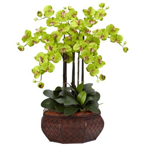 Nearly-Natural-1201-GR-Large-Phalaenopsis-Silk-Flower-Arrangement-Green