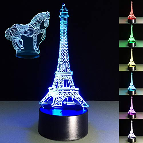 (3D Night Light for Kids 7 Colors Horse Light- 3D LED Illusion Lamp -Touch Table Desk Lamps Bedroom Sleep Lamp Best Birthday Gifts for Boys Girls Kids Baby)