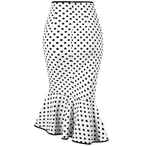 Dot Liens Sirène Femmes Blanc Fashion Jupe Trompette Avec Serrée Bouton f6b7ygIvY