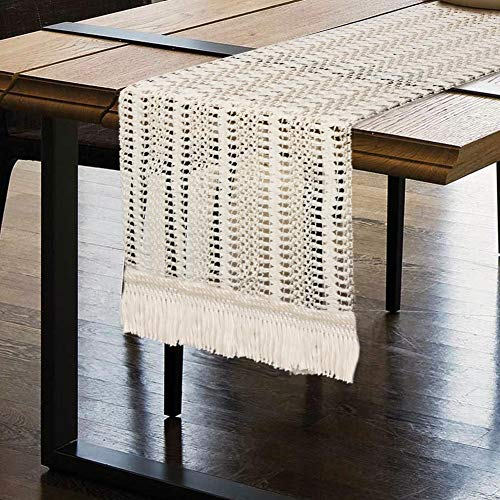 OurWarm Macrame Table Runner, Cotton Crochet Lace Boho Table Runner, Woven Table Runner with Tassels for Bohemian Wedding Bridal Shower Home Rustic Farmhouse Dining Table Decor, 12 x 72 Inch