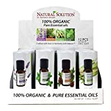Top 4 Organic Essential Oils Display Set | Lavender Oil, Cedrawood, Mint Oil, Lemongrass | 3 Each, 12 in a Case Box