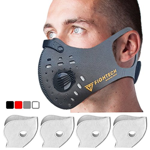 N99 Dust Mask by FIGHTECH with 4 Activated Carbon N99 Filters & 2 Air Valves. Dustproof Respirator Face Mask Protects from Dust, Allergy and Pollution. Good for Woodwork and Outdoor Activities (GRY) by FIGHTECH