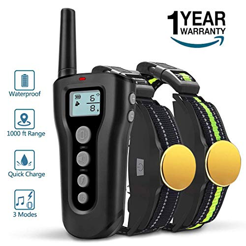 BOOCOSA Dog Training Collar for 2 Dogs-Remote Rechargeable Shock Collar for Dogs, Waterproof Electric Shock Collar with Beep Vibration Shock for Small Medium Large Dogs