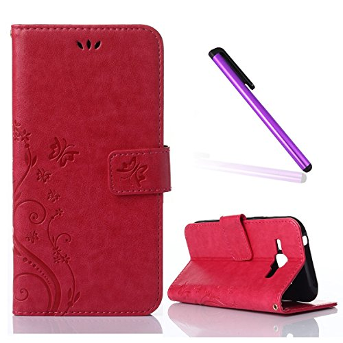 - Galaxy J5 Case,Samsung Galaxy J5 Case,,EMAXELER Stylish Wallet Case [Kickstand Flip Case][Credit Cards Slot][Cash Pockets] PU Leather Flip Wallet Case with Stand For Samsung Galaxy J5--Red