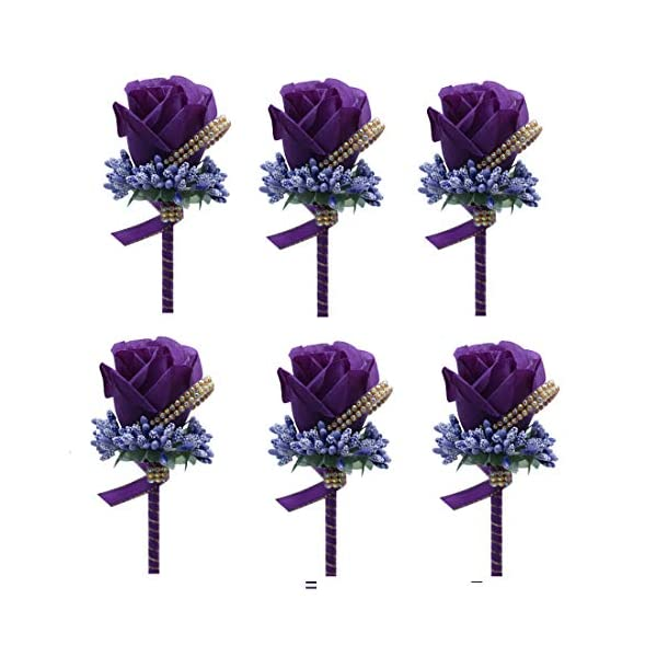 Bomandu 6PCS Artificial Rose Boutonniere Silk Men Corsage Groom Flowers Brooch with Pin and Clip for Wedding Prom Party(Dark Purple)