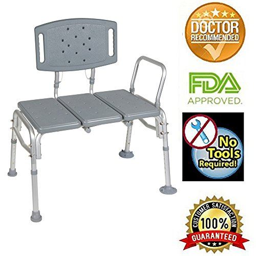 HEALTHLINE Transfer Bench Adjustable Height, Heavy Duty Bariatric Tub Transfer Bench with Back, Non-Slip Seat, Bath Shower Bench Chair Fits Any Bathroom for Elderly, Disabled, 500 lbs Capacity, ()