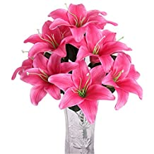 2 Pcs- Scented Lily Bouquet Artificial Flower rose red