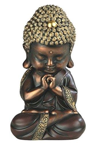 (Sleeping Baby Buddha Resting Serene Statue 7.875 H, Black (Gold- Double Lotus))