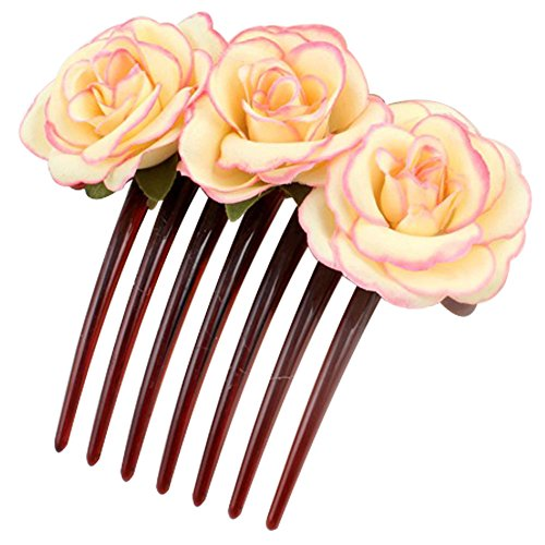 2Pcs Women Rose Flower Hair Comb Bride Bridesmaid Headpiece Wedding (Beautiful Bride Adult Costumes)