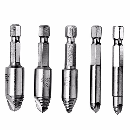 (Cacys Store - 5pcs Screw Extractor Drill Bit Guide Set Remover Broken Studs Damaged Bolts Easy Speed Out Drill Repair Tool Set 1/4'' Hex Shank)
