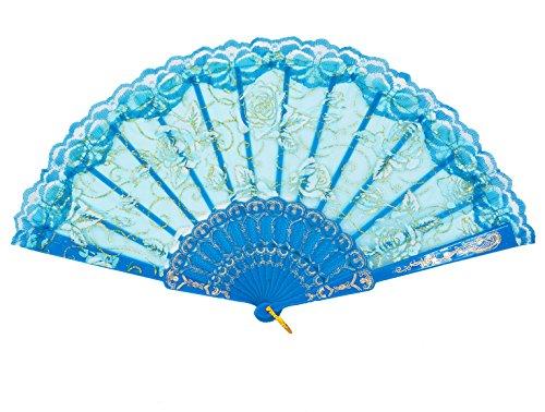 (Amajiji Folding Hand Fans,Fashion Elegant Flower Rose Lace Chinese/Japanese Folding Fan (Sky)