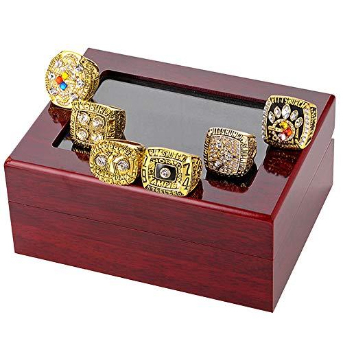 LEMOISTARS 6Pcs Pittsburgh Steelers Super Bowl Championship Ring Set -