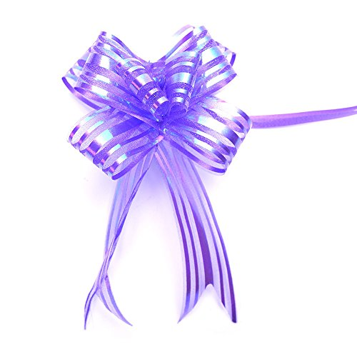 20 Pieces Gift Pull Bows Christmas Presents Glittering Wedding Gifts Wrap Strings Knot with Ribbon, Purple