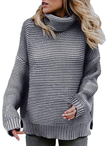 Asvivid Womens Lightweight Turtle Neck Pullover Long Sleeve Thick Solid Cotton Baggy Knit Sweater Plus Size 1X Grey