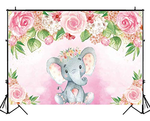 Funnytree Soft Fabric Pink Floral Elephant Party Backdrop with Pole Pocket Flowers Girl Baby Shower Birthday Photography Background Photobooth Banner Cake Table Decorations 5x3ft