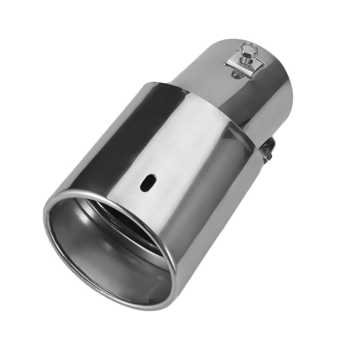 Plateado WEIWEITOE Recto y Curva General Plata Brillante Acero Inoxidable Tubo de Escape autom/ático Silenciador Modificado Modificado Garganta de Cola