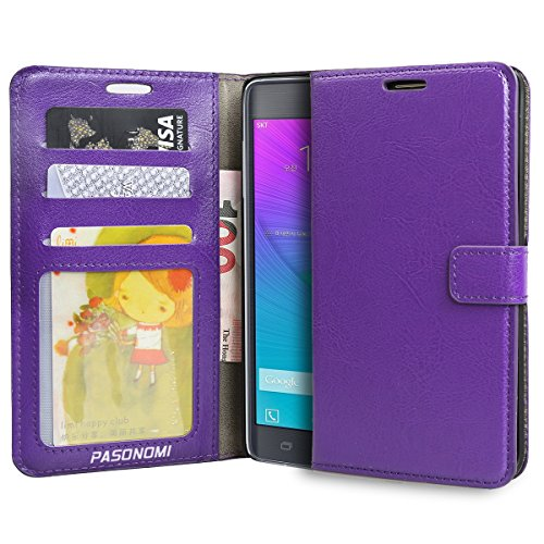 Galaxy Note Edge Case, Pasonomi® [Wallet Feature] Premium Wallet Case, PU Leather Flip Cover Built-in Card Slots & Stand for Samsung Galaxy Note Edge (Purple)