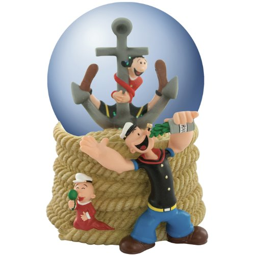 Westland Giftware Popeye and Family Resin Musical Water Globe, 100mm