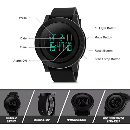 Aposon Men's Digital Sports Wrist Watch LED Screen Large Face Electronics Military Watches Waterproof Alarm Stopwatch Back Light Outdoor Casual Watch - Black