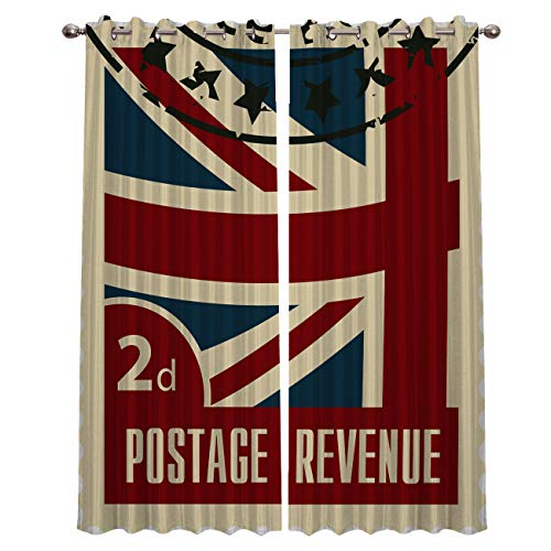 Prime Leader Curtains for Living Room- UK Flag Stamp Collection Darkening Thermal Insulated Window Treatment Curtains, with Grommet Home Decor (2 Panels, 27.5 x 39 Inch Each Panel) (Uk Surface Patio Ideas)