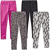 Spotted Zebra Little Girls' 4-Pack Leggings, Math, Small (6-7)