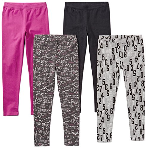- Spotted Zebra Toddler Girls' 4-Pack Leggings, Math, 3T