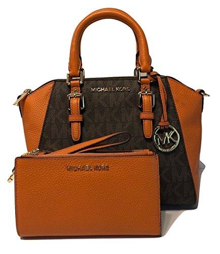 MICHAEL Michael Kors Ciara MD Messenger Handbag bundled with Michael Kors Jet Set Travel Double Zip Wallet Wristlet (Signature Vanilla/Tangerine) by Michael Kors