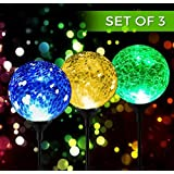 Solar Powered Crackle Glass Ball- 7 Color Changing Stake Lights- Set of 3- Weatherproof Design- Decorative Landscape Lamps- Wireless Outdoor LED Accent Lighting- Best Decor for Garden/ Yard/ Path