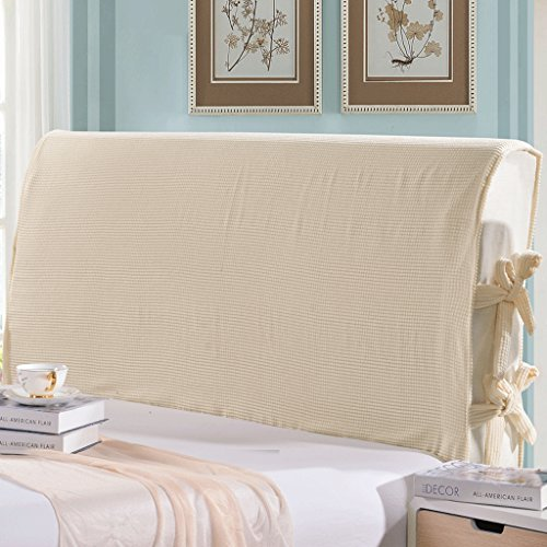 Taiyucover Anti-mite Bed Headboard Slipcovers;Dustproof Solid Color Corduroy Bed Head Covers;Bedside Bedroom Decorative Protectors (Beige, Queen)