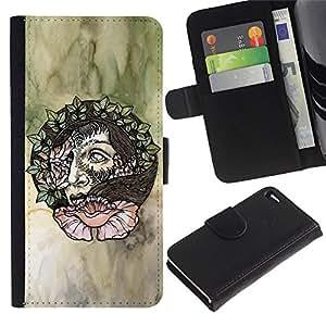 iKiki Tech / Cartera Funda Carcasa - Wreath Artistic Art Green Watercolor - Apple iPhone 4 / 4S