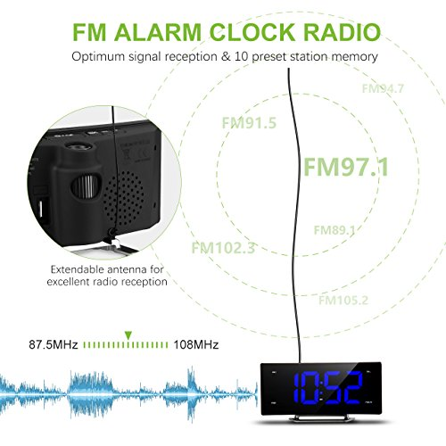 projection clock pictek fm projection alarm clock curved screen digital fm clock radio with dual. Black Bedroom Furniture Sets. Home Design Ideas
