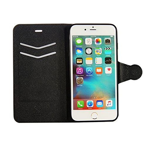 Saffiano Bi Fold (iPhone 6S Plus Wallet Case, iPhone 6 Plus, Ultra Slim Synthetic Saffiano Leather Wallet Cover Case with Stand Feature Credit Card Slots for Apple iPhone 6S Plus, iPhone 6 Plus by Cazel (Black))
