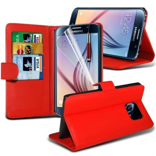 Samsung Galaxy Core Prime Wallet Case Cover (Rojo) Plus de regalo libre, Protector de pantalla y un lápiz óptico, Solicitar ahora mejor caja del teléfono Valorado en Amazon! By FinestPhoneCases