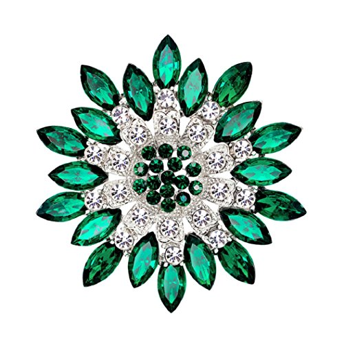 Green Womens Brooch - Polytree Women Flower Crystal Rhinestone Brooch Pins Wedding Bridal Gift (Green)