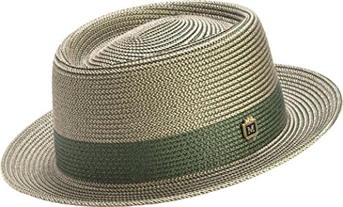 Two Snap Tone (Montique Men's Two Tone Braided Pork Pie Hat (XL, Hunter))