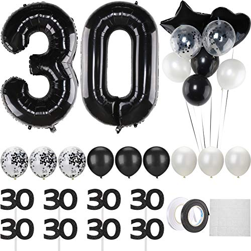 Black 30th Birthday Decoration, 40 Inch Black 30 Number Balloon, White and Black Balloon Set with Black 30 Cupcake Toppers for 30th Birthday Anniversary Party Decoration -