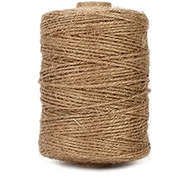 Tenn Well Natural Jute Twine 3Ply Arts and Crafts Jute Rope Industrial Packing Materials Packing String For Gifts, DIY Crafts, Decoration, Bundling, Gardening and Recycling (500 Feet)