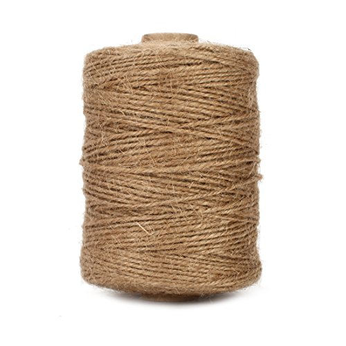 Tenn Well Natural Jute Twine 3Ply Arts and Crafts Jute Rope Industrial Packing Materials Packing String For Gifts, DIY Crafts, Festive Decoration, Bundling, Gardening and Recycling (500 Feet)